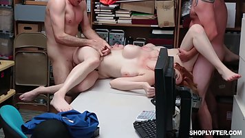 Two employees of the office with big milkings had an Orgy in the office with his...