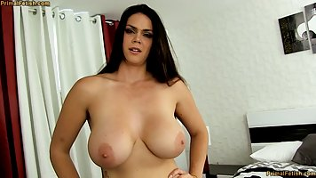 Mommy with big Tits is not against sex in the first person with a young guy