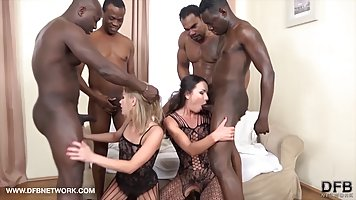 A group of blacks staged for two Babes in stockings group Bang