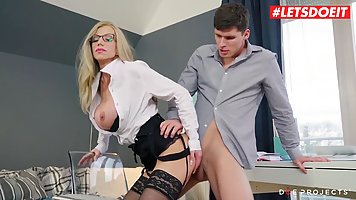 Teacher in stockings gets fucked in the classroom with his student