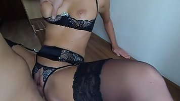 Wife in stockings bared large knockers and took her husband on camera hardcore