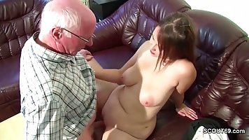 Fat girl after school went to grandpa and fucked him on the couch