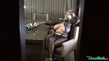 Blonde fatso with big milkings shows his solo erotica