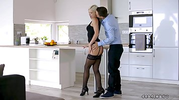 Stockings blonde sticks her pussy and ass for a passionate fuck