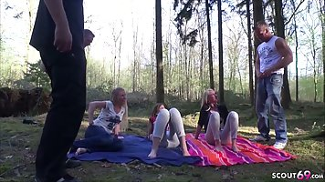 Girl in nature showed great milking and agreed on group porn