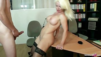 Mommy at the office conducts an interview and gets fucked legs spread in stockin...