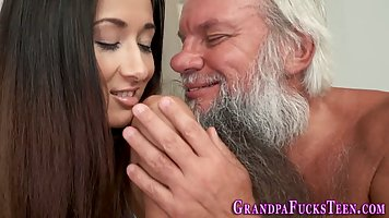 Old man seduced young brunette on the sex and fucked her dick