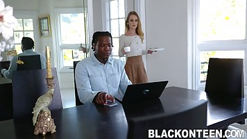 Nigger is not against the beautiful and gentle sex with a slender blonde in the ...