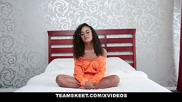 Mulatto chick with glasses on casting sex with a white lover