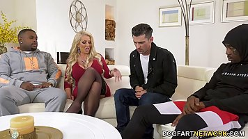 Blonde with big ass and milking spreads her legs to blacks for anal and double p...