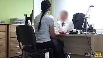 Brunette with big milkings in the office Fucks with boss on the Desk