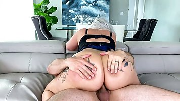 Chubby blonde with tattooed ass jumps on dick tragara