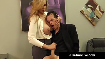 Blonde in office jerks off dick of the boss and takes his cum on her hands