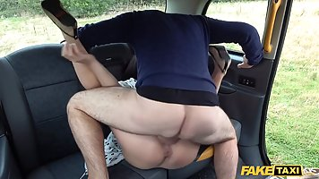 Brunette in the car, first person Blowjob and cums from vaginal