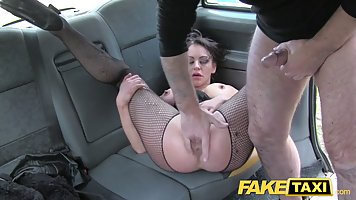 The taxi driver lit brunette with big Boobs sex in the car