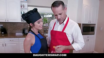 Brunette in uniform of the chefs agreed to fuck in the kitchen and participate i...