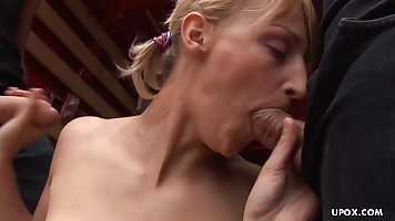 Blonde in a pickup truck opened her mouth for a Blowjob and got double penetrati...