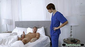 Brunette in nurse uniform actually saved patient hardcore sex