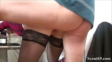 Blonde in stockings right in the office spreads legs for sex