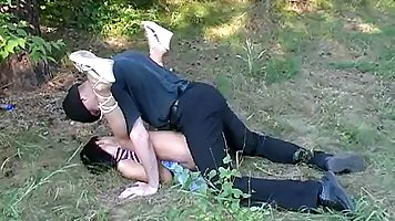 Brunette after Blowjob outdoors spreads her legs for home adult videos