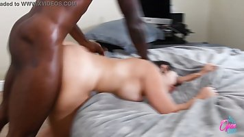 Brunette in the bedroom lifts your legs for home porn with Negro