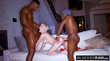 Two black man with big bolts to give the blonde a double penetration