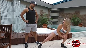 Poolside Coach Gets Blonde Deepthroat and Cum Drain