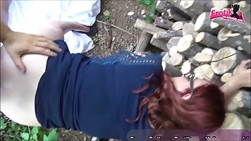 Redhead on the street fucks with her husband and acts in his pleasant homemade s...