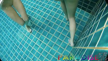 Two young sluts right in the pool agreed to a threesome POV
