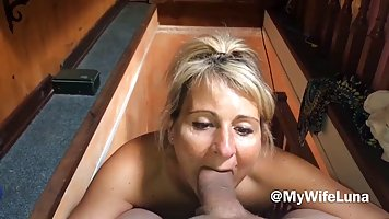 Mommy strips naked and kneels giving POV blowjob