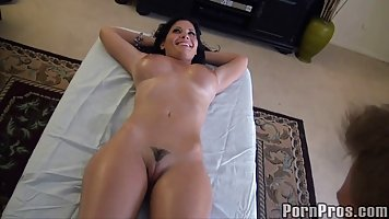 The masseur kneaded the big tits of the brunette with his hands and gently fucke...