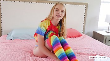 Blonde in rainbow knee socks pov sex tape and moans