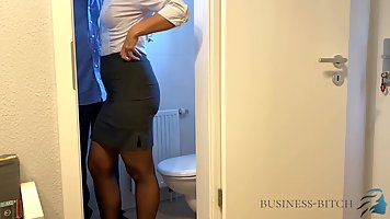The director puts the secretary in the toilet in doggy style in stockings and fu...