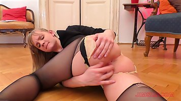 Big ass wife in stockings gives a nice old husband on the couch