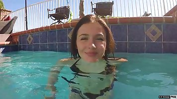 Familiarity with the brunette in the pool ends with hardcore sex