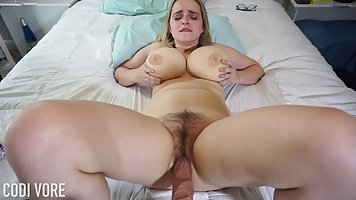 Blonde soloed on a huge silicone dildo on webcam