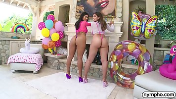 Two hairy Latina with huge asses ready for long threesome with a man