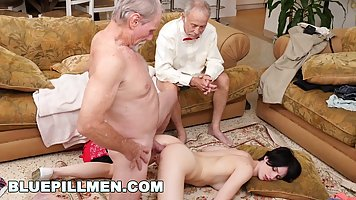 Hairy girl with old men arranged double penetration in the ass