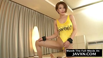 Asian girl takes off her yellow swimsuit and gets her pussy pounded by an agent