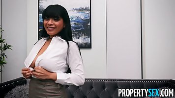 Interview Asian shows big boobs and hairy pussy to agent