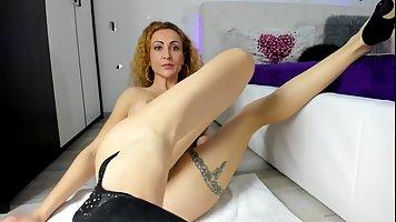 Sobbing wife on webcam shows husband a quality handjob on a business trip