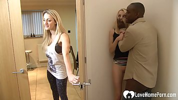 Negro cheats on his wife with a white slender girl and pounds cancer near the do...