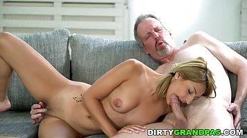 Gray-haired professor arranged hardcore cunnilingus and vaginal fuck with a stud...