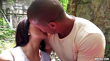 Blonde with a brunette on the nature arranged for a guy Threesome