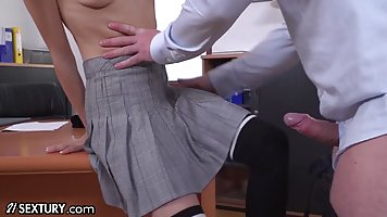 Horny coed in uniform gets deep anal in office
