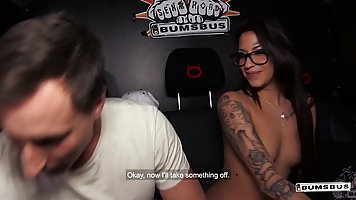 Brunette in glasses and with tattoos body climbed to the guy in the car and have...